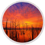 Fired Up Morn Round Beach Towel