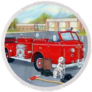 Firefighter - Still Life Round Beach Towel