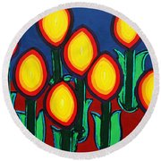 Fireflowers Round Beach Towel