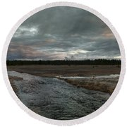 Firehole Lake Drive Sunrise - Yellowstone Np Round Beach Towel