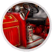 Fireman - Fire Engine No 3 Round Beach Towel by Mike Savad