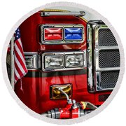 Fireman - Fire Engine Round Beach Towel by Paul Ward