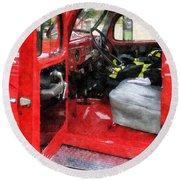 Fireman - Fire Truck With Fireman's Uniform Round Beach Towel