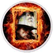 Fireman Hero Round Beach Towel