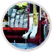 Fireman - Hoses On Fire Truck Round Beach Towel