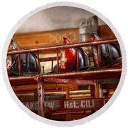 Fireman - Ladder Company 1 Round Beach Towel by Mike Savad