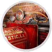 Fireman - Mastic Chemical Co Round Beach Towel by Mike Savad