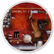 Fireman - Old Fashioned Controls Round Beach Towel