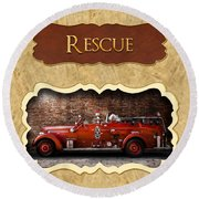 Fireman - Rescue - Police Round Beach Towel by Mike Savad