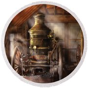 Fireman - Steam Powered Water Pump Round Beach Towel