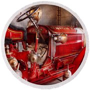 Fireman - Truck - Waiting For A Call Round Beach Towel