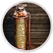 Fireman - Vintage Fire Extinguisher Round Beach Towel
