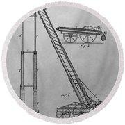 Fireman's Hydraulic Lift Patent Drawing Round Beach Towel