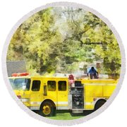 Firemen - Back At The Firehouse Round Beach Towel