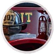 Firemen - Fire Helmet Lieutenant Round Beach Towel