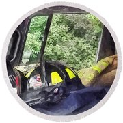 Firemen - Helmet Inside Cab Of Fire Truck Round Beach Towel by Susan Savad