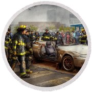 Firemen - The Fire Demonstration Round Beach Towel by Mike Savad