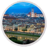 Firenze By Night Round Beach Towel by Inge Johnsson