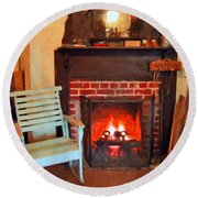 The Family Hearth - Fireplace Old Rocking Chair Round Beach Towel