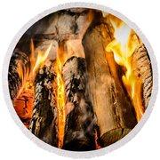 Fireplace II Round Beach Towel