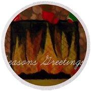 Fireplace - Seasons Greetings Round Beach Towel