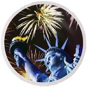 Fires Of Liberty Round Beach Towel