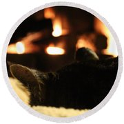 Fireside Cat Nap Round Beach Towel