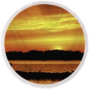 Fireside Chat Round Beach Towel