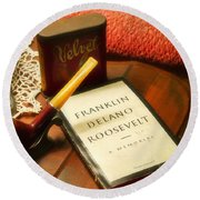Fireside Chats With Fdr 05 With A Pipe And Book Round Beach Towel