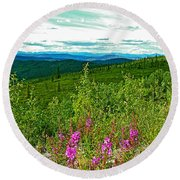 Fireweed And Mountains From Top Of The World Highway-yukon Round Beach Towel