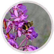 Fireweed Bee Round Beach Towel