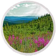 Fireweed Near Top Of The World Highway-alaska Round Beach Towel