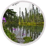 Fireweed On The Clearwater Round Beach Towel