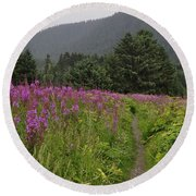 Fireweed Path At Fish Creek Round Beach Towel
