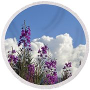 Fireweed Sky Round Beach Towel