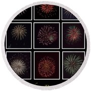 Fireworks - Black Background Round Beach Towel