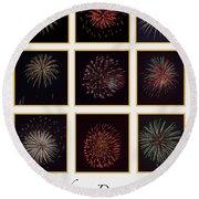 Fireworks - White Background Round Beach Towel
