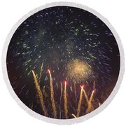 Fireworks-3027 Round Beach Towel