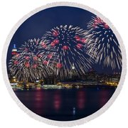 Fireworks And Full Moon Over New York City Round Beach Towel