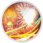 Fireworks As A Painting Round Beach Towel