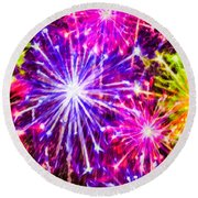 Fireworks At Night 7 Round Beach Towel