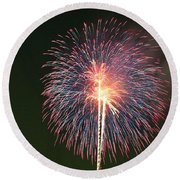 Fireworks At Night 9 Round Beach Towel