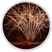 Fireworks At Tempe Town Lake  Round Beach Towel by Saija  Lehtonen