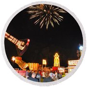 Fireworks At The Carnival Round Beach Towel