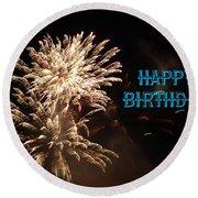 Fireworks Birthday Round Beach Towel