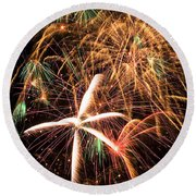 Fireworks Exploding Everywhere Round Beach Towel by Garry Gay