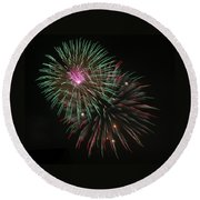 Fireworks Exploding Round Beach Towel