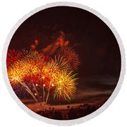 Fireworks Finale Round Beach Towel by Robert Bales