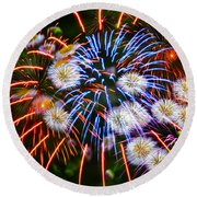 Fireworks Flower Abstract Round Beach Towel