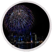 Fireworks In New York City Round Beach Towel by Susan Candelario